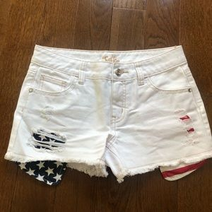 Justice Bottoms - girls jean shorts with red white and blue